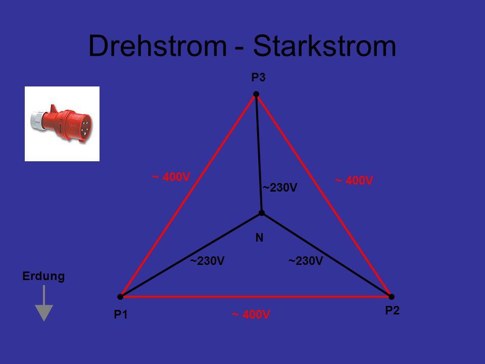 Drehstrom - Starkstrom P1 P2 P3 N ~ 400V ~230V Erdung