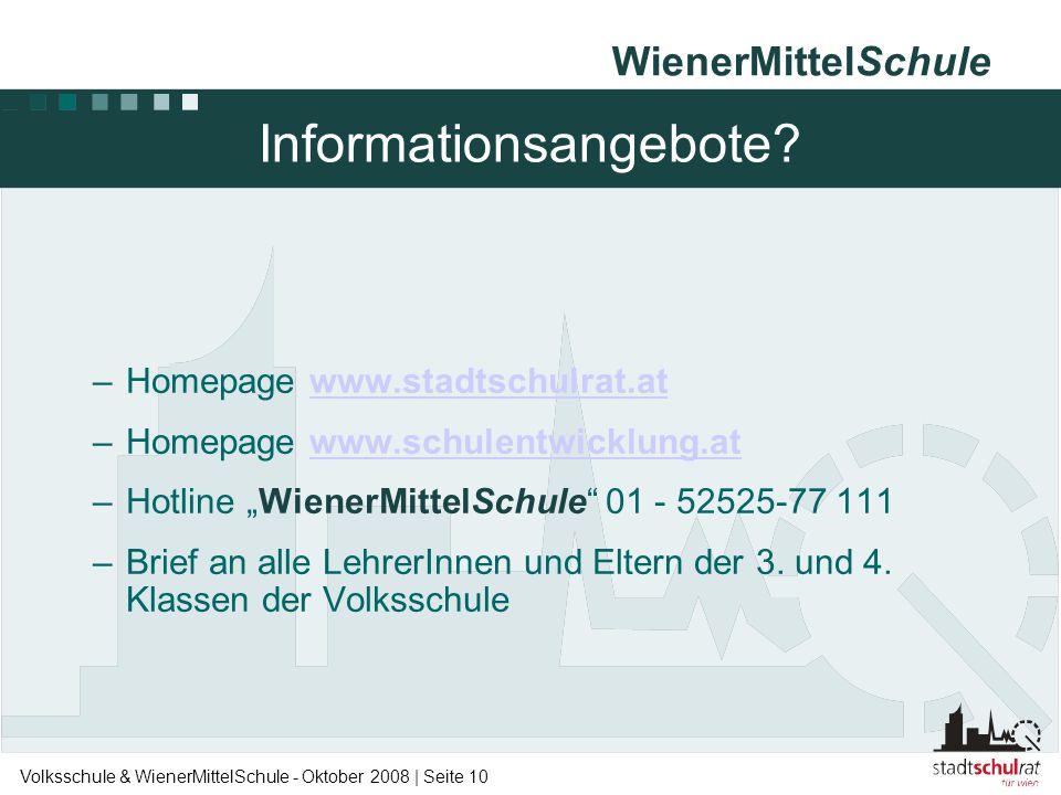 WienerMittelSchule Volksschule & WienerMittelSchule - Oktober 2008 | Seite 10 Informationsangebote? –Homepage www.stadtschulrat.atwww.stadtschulrat.at