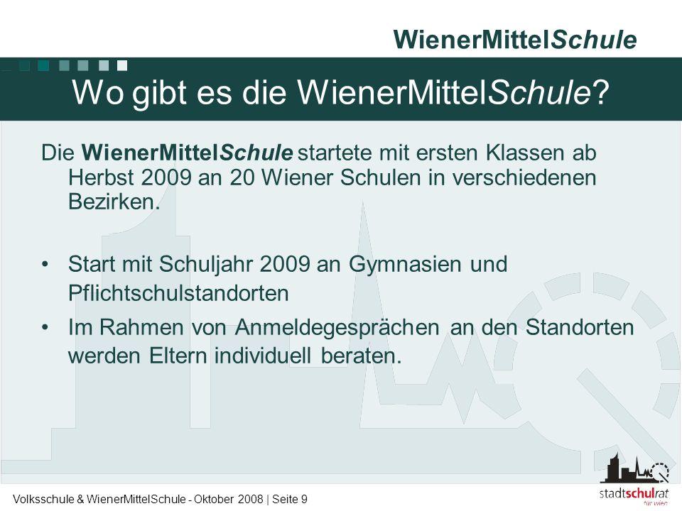 WienerMittelSchule Volksschule & WienerMittelSchule - Oktober 2008 | Seite 9 Wo gibt es die WienerMittelSchule? Die WienerMittelSchule startete mit er
