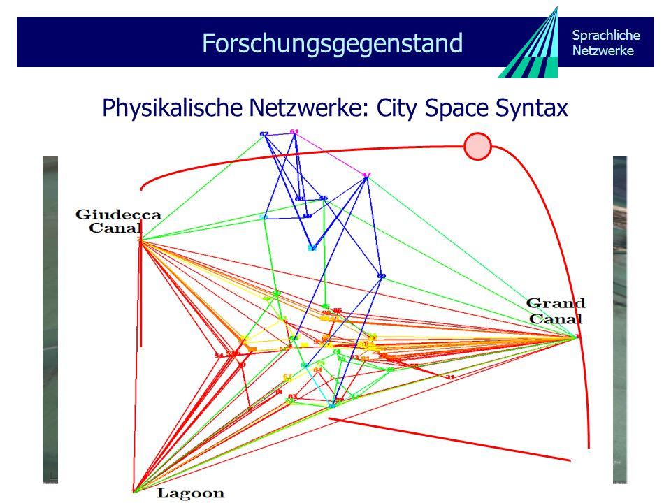 Sprachliche Netzwerke Physikalische Netzwerke: Epidemiologie Forschungsgegenstand unstrukturierte Gesellschaft strukturierte Gesellschaft