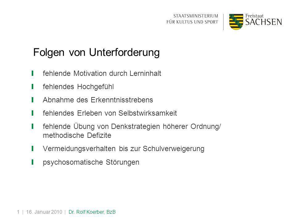 | 16. Januar 2010 | Dr. Rolf Koerber, BzB1 Folgen von Unterforderung ❙ fehlende Motivation durch Lerninhalt ❙ fehlendes Hochgefühl ❙ Abnahme des Erken