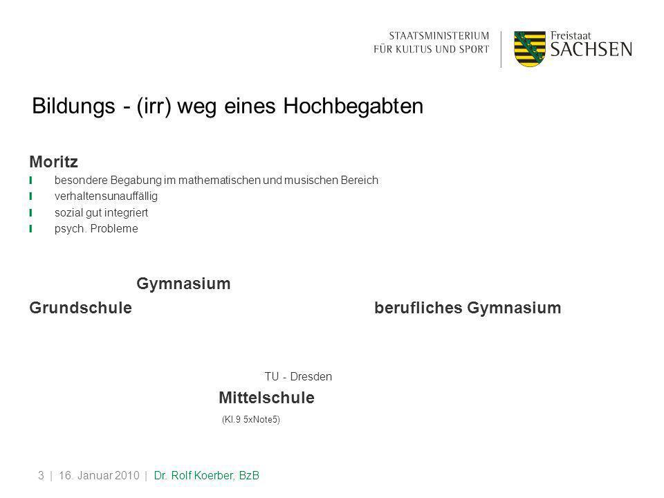 | 16. Januar 2010 | Dr. Rolf Koerber, BzB3 Bildungs - (irr) weg eines Hochbegabten Moritz ❙ besondere Begabung im mathematischen und musischen Bereich