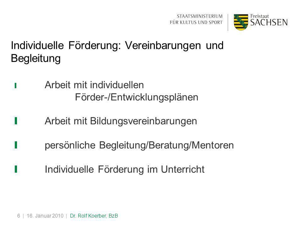 | 16. Januar 2010 | Dr. Rolf Koerber, BzB6 Individuelle Förderung: Vereinbarungen und Begleitung ❙ Arbeit mit individuellen Förder-/Entwicklungsplänen
