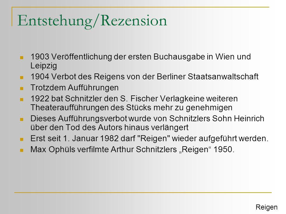 Entstehung/Rezension  1903 Veröffentlichung der ersten Buchausgabe in Wien und Leipzig  1904 Verbot des Reigens von der Berliner Staatsanwaltschaft