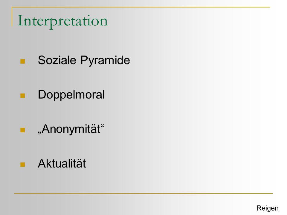 "Interpretation  Soziale Pyramide  Doppelmoral  ""Anonymität""  Aktualität Reigen"