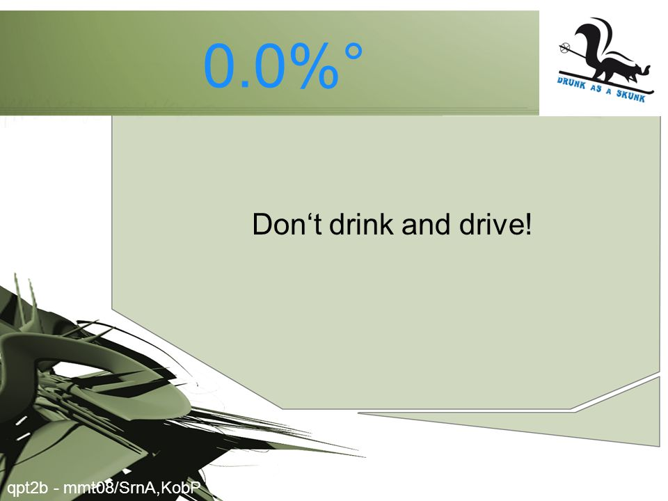 0.0%° Don't drink and drive! qpt2b - mmt08/SrnA,KobP