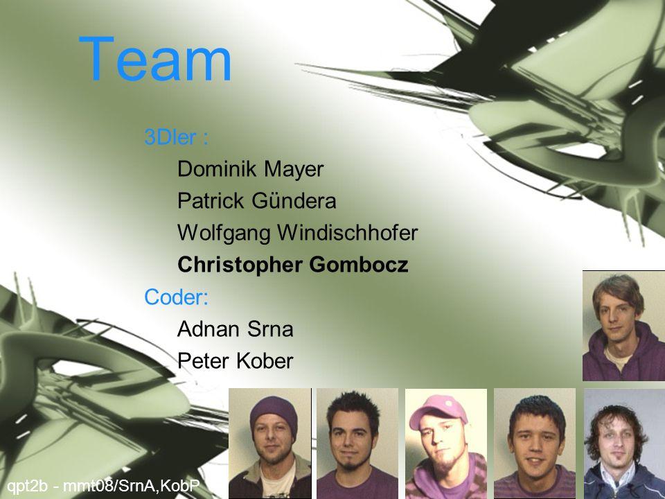 Team 3Dler : Dominik Mayer Patrick Gündera Wolfgang Windischhofer Christopher Gombocz Coder: Adnan Srna Peter Kober qpt2b - mmt08/SrnA,KobP