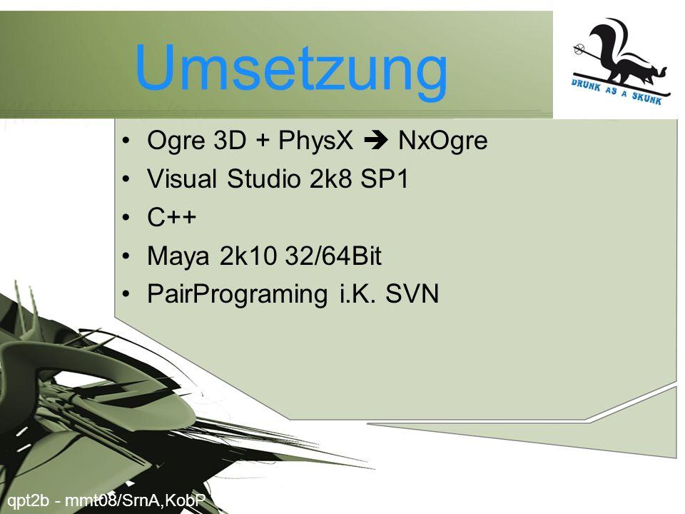 Umsetzung •Ogre 3D + PhysX  NxOgre •Visual Studio 2k8 SP1 •C++ •Maya 2k10 32/64Bit •PairPrograming i.K.