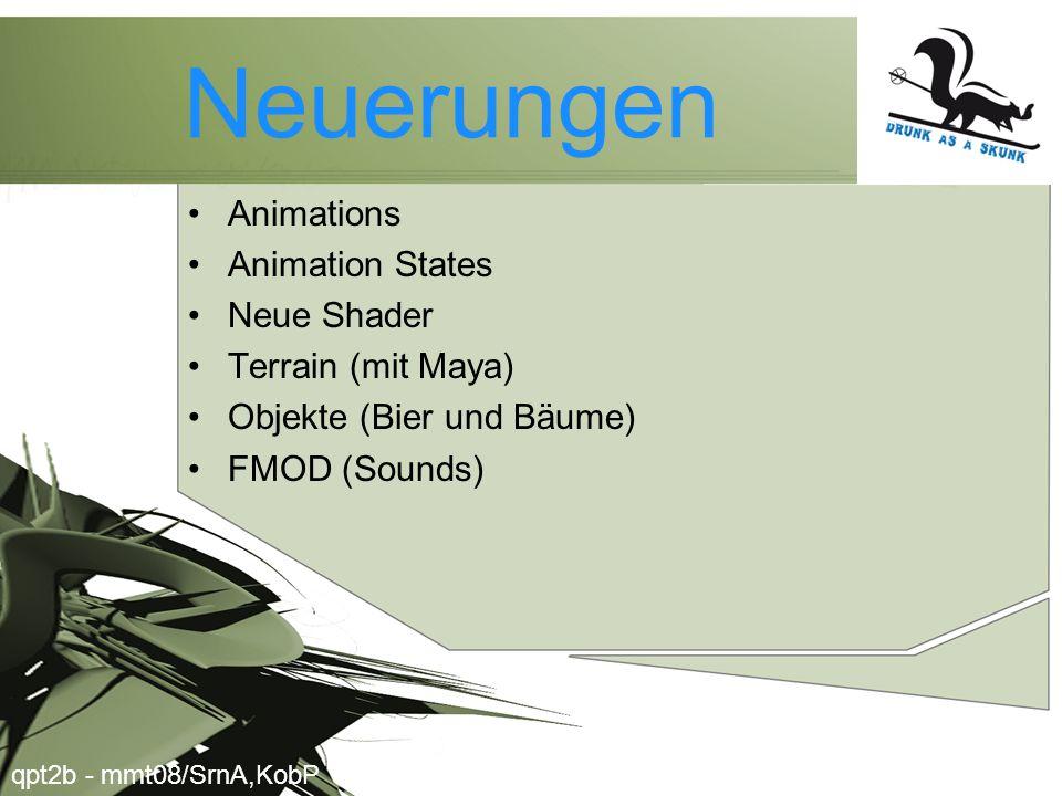 Neuerungen •Animations •Animation States •Neue Shader •Terrain (mit Maya) •Objekte (Bier und Bäume) •FMOD (Sounds) qpt2b - mmt08/SrnA,KobP