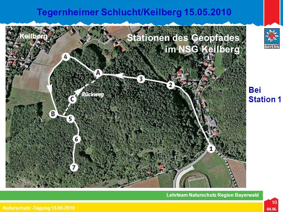 10 04.06 Naturschutz -Tagung 15.05.2010 Lehrteam Naturschutz Region Bayerwald Tegernheimer Schlucht/Keilberg 15.05.2010 10 Keilberg Stationen des Geop