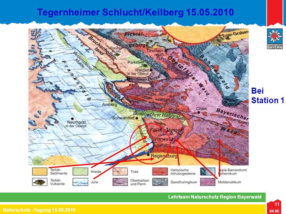 11 04.06 Naturschutz -Tagung 15.05.2010 Lehrteam Naturschutz Region Bayerwald Tegernheimer Schlucht/Keilberg 15.05.2010 11 Bei Station 1