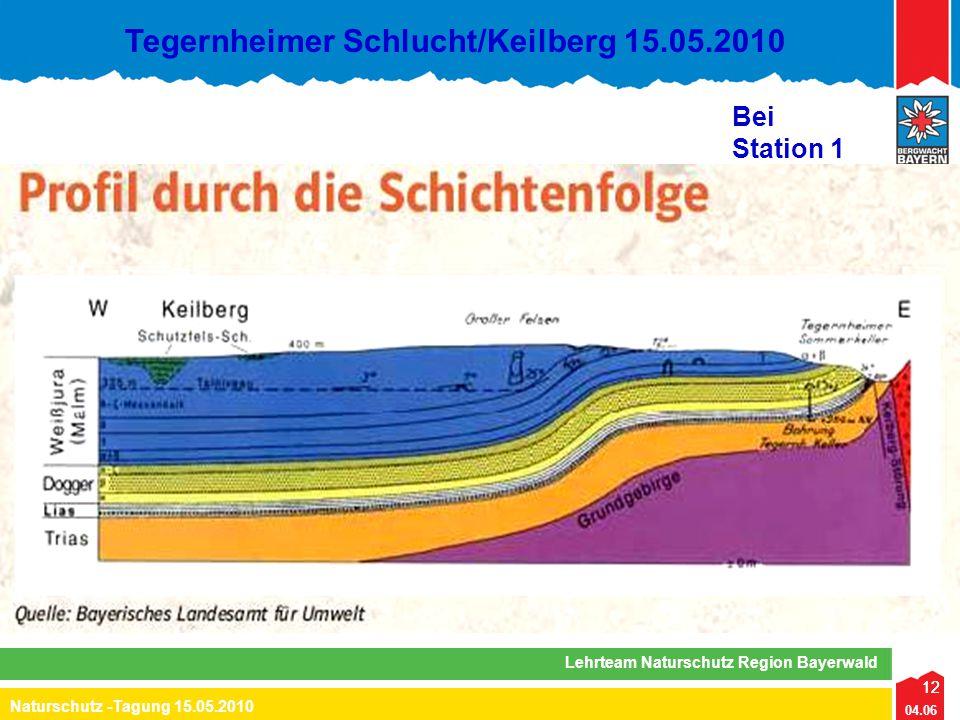 12 04.06 Naturschutz -Tagung 15.05.2010 Lehrteam Naturschutz Region Bayerwald Tegernheimer Schlucht/Keilberg 15.05.2010 12 Bei Station 1
