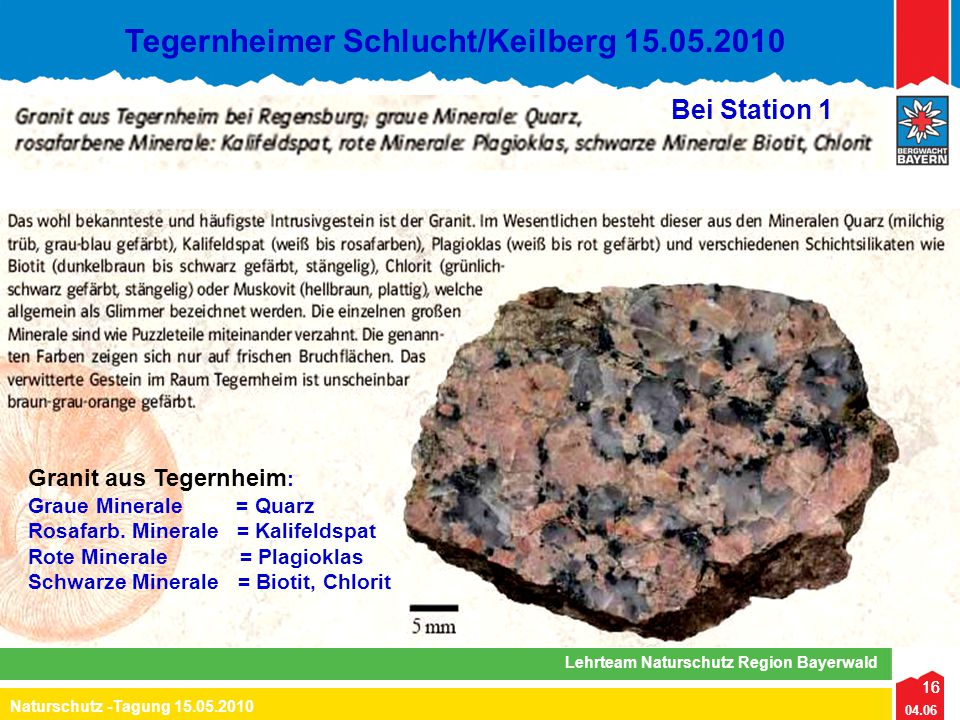 16 04.06 Naturschutz -Tagung 15.05.2010 Lehrteam Naturschutz Region Bayerwald Tegernheimer Schlucht/Keilberg 15.05.2010 16 Granit aus Tegernheim : Gra