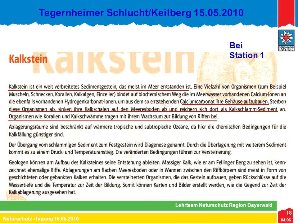 18 04.06 Naturschutz -Tagung 15.05.2010 Lehrteam Naturschutz Region Bayerwald Tegernheimer Schlucht/Keilberg 15.05.2010 18 Bei Station 1