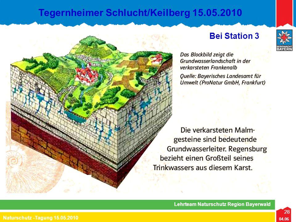 28 04.06 Naturschutz -Tagung 15.05.2010 Lehrteam Naturschutz Region Bayerwald Tegernheimer Schlucht/Keilberg 15.05.2010 28 Bei Station 3