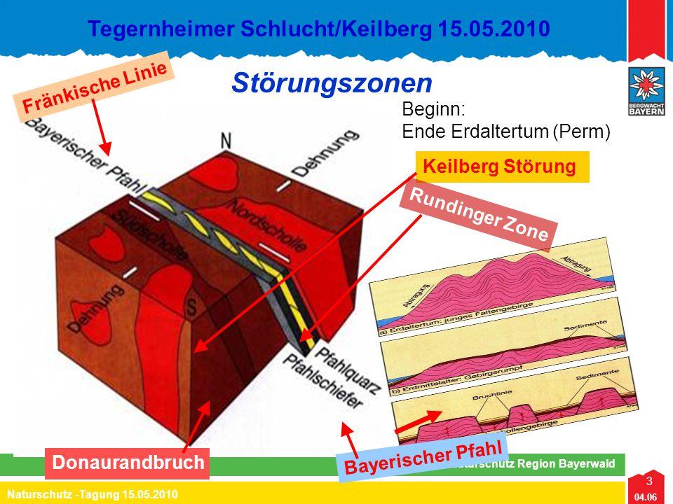 3 04.06 Naturschutz -Tagung 15.05.2010 Lehrteam Naturschutz Region Bayerwald Tegernheimer Schlucht/Keilberg 15.05.2010 Keilberg Störung Störungszonen