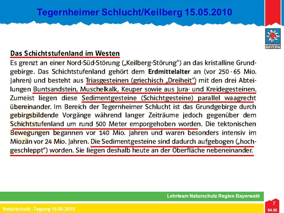 7 04.06 Naturschutz -Tagung 15.05.2010 Lehrteam Naturschutz Region Bayerwald Tegernheimer Schlucht/Keilberg 15.05.2010 7
