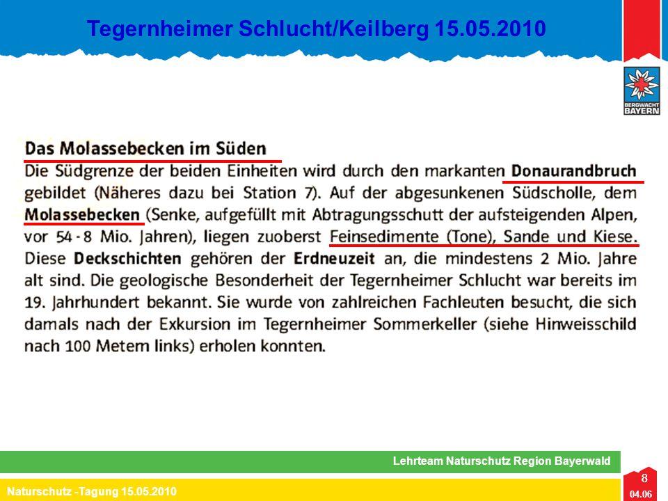 8 04.06 Naturschutz -Tagung 15.05.2010 Lehrteam Naturschutz Region Bayerwald Tegernheimer Schlucht/Keilberg 15.05.2010 8
