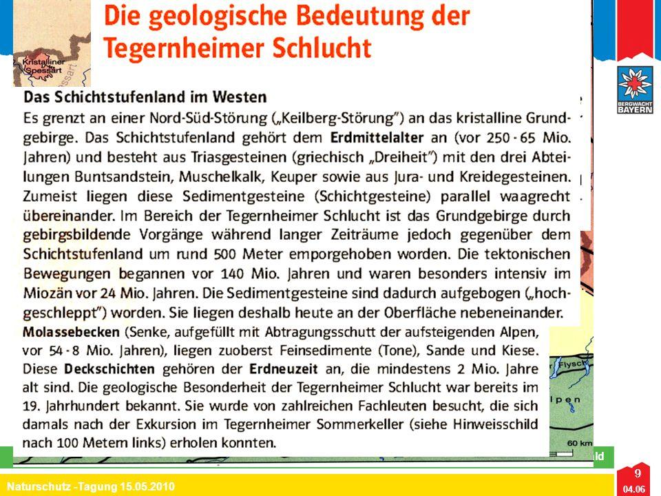 9 04.06 Naturschutz -Tagung 15.05.2010 Lehrteam Naturschutz Region Bayerwald Tegernheimer Schlucht/Keilberg 15.05.2010 9