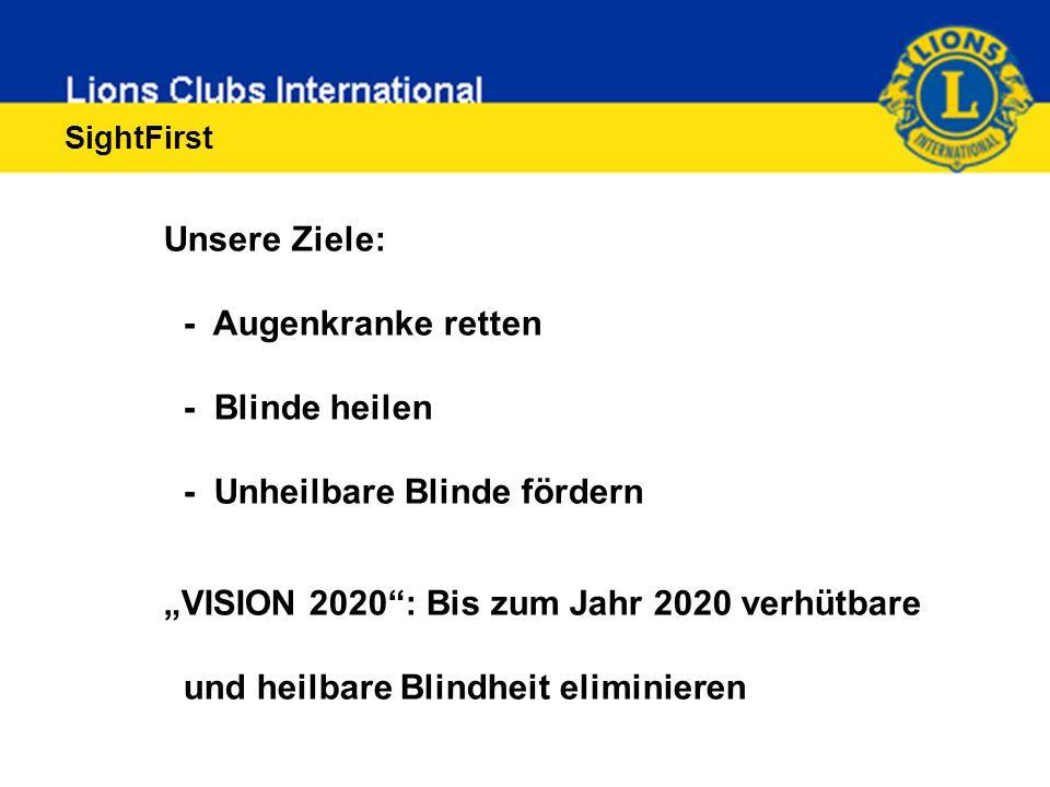 """Unsere Ziele: - Augenkranke retten - Blinde heilen - Unheilbare Blinde fördern """"VISION 2020 : Bis zum Jahr 2020 verhütbare und heilbare Blindheit eliminieren"""
