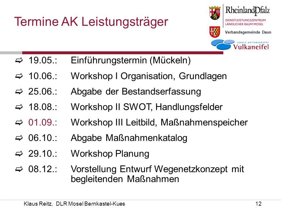 Verbandsgemeinde Daun Klaus Reitz, DLR Mosel Bernkastel-Kues12  19.05.: Einführungstermin (Mückeln)  10.06.:Workshop I Organisation, Grundlagen  25