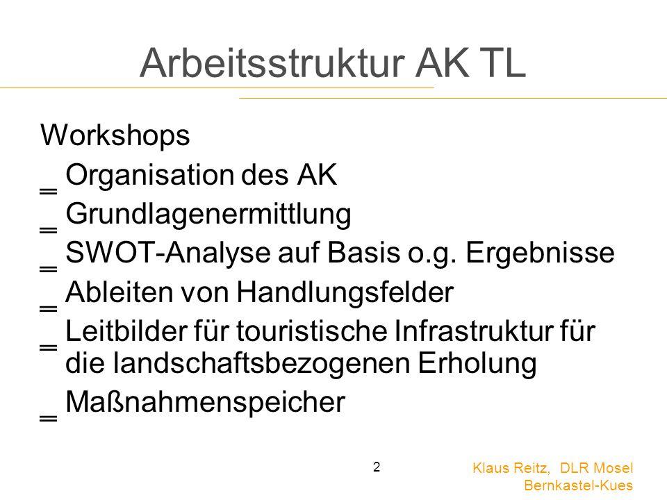 Klaus Reitz, DLR Mosel Bernkastel-Kues 2 Arbeitsstruktur AK TL Workshops ‗Organisation des AK ‗Grundlagenermittlung ‗SWOT-Analyse auf Basis o.g. Ergeb
