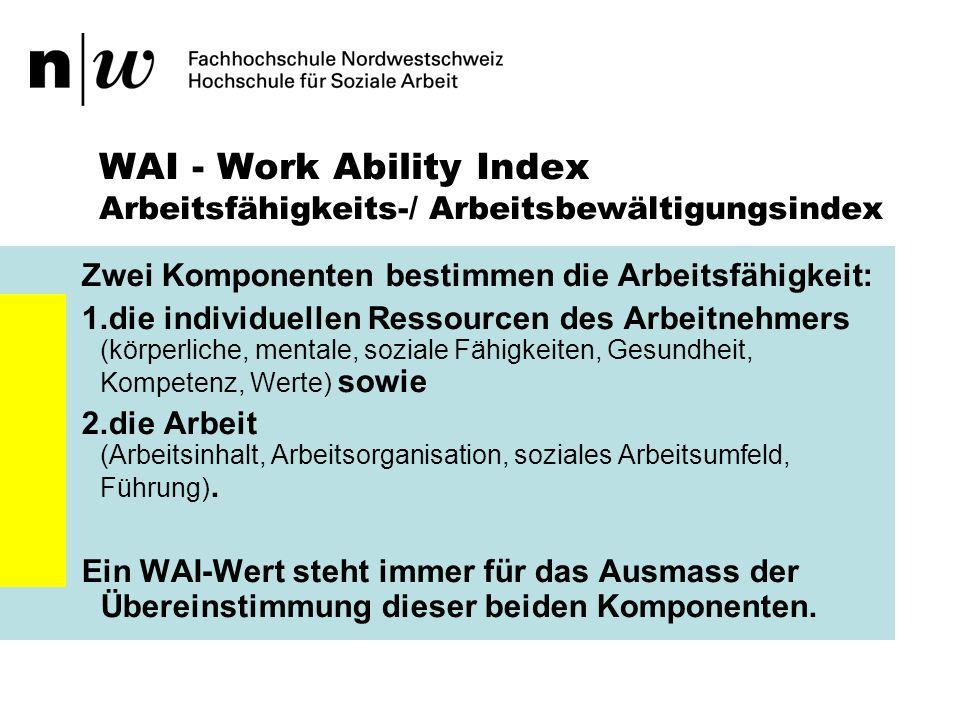 WAI - Work Ability Index Übertragen auf Teams: Drei Komponenten bestimmen die Arbeitsfähigkeit von Teams: 1.die individuellen Ressourcen des Arbeitnehmers (körperliche, mentale, soziale Fähigkeiten, Gesundheit, Kompetenz, Werte) 2.die gruppenspezifischen Ressourcen des Teams, sowie 3.die Arbeit (Arbeitsinhalt, Arbeitsorganisation, soziales Arbeitsumfeld, Führung).