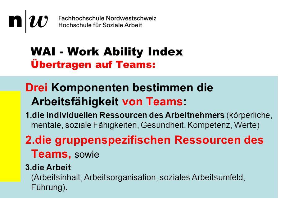 WAI - Work Ability Index Übertragen auf Teams: Welche gruppenspezifischen Ressourcen benötigt ein Team um arbeitsfähig zu werden?