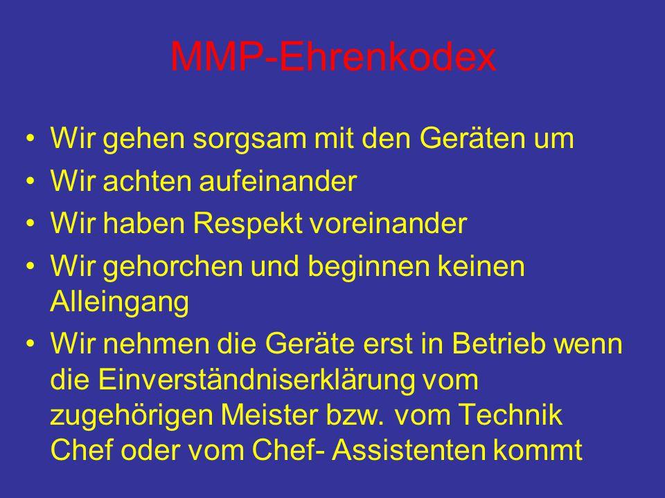 MMP-Ehrenkodex •Wir gehen sorgsam mit den Geräten um •Wir achten aufeinander •Wir haben Respekt voreinander •Wir gehorchen und beginnen keinen Alleing