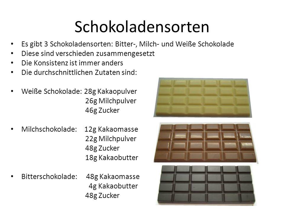 Schokoladensorten • Es gibt 3 Schokoladensorten: Bitter-, Milch- und Weiße Schokolade • Diese sind verschieden zusammengesetzt • Die Konsistenz ist im