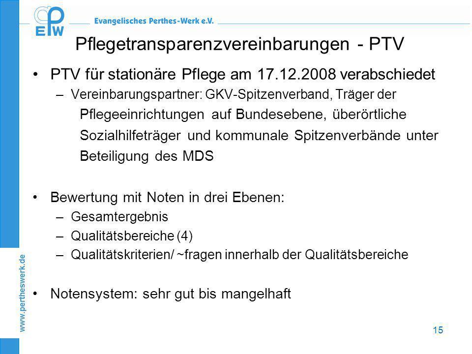 15 Pflegetransparenzvereinbarungen - PTV •PTV für stationäre Pflege am 17.12.2008 verabschiedet –Vereinbarungspartner: GKV-Spitzenverband, Träger der