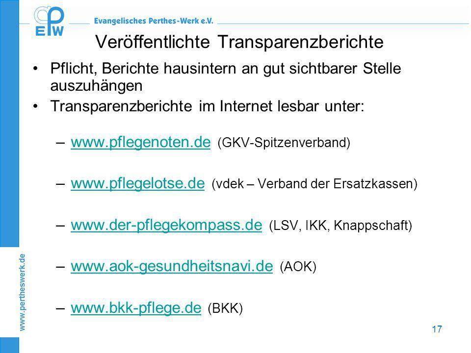 17 Veröffentlichte Transparenzberichte •Pflicht, Berichte hausintern an gut sichtbarer Stelle auszuhängen •Transparenzberichte im Internet lesbar unte