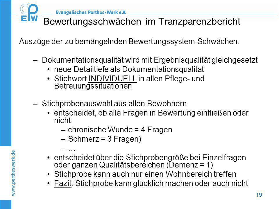 19 Bewertungsschwächen im Tranzparenzbericht Auszüge der zu bemängelnden Bewertungssystem-Schwächen: –Dokumentationsqualität wird mit Ergebnisqualität