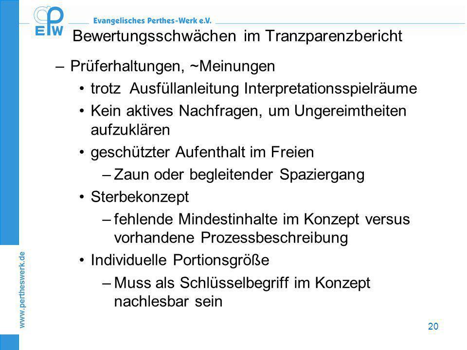 20 Bewertungsschwächen im Tranzparenzbericht –Prüferhaltungen, ~Meinungen •trotz Ausfüllanleitung Interpretationsspielräume •Kein aktives Nachfragen,