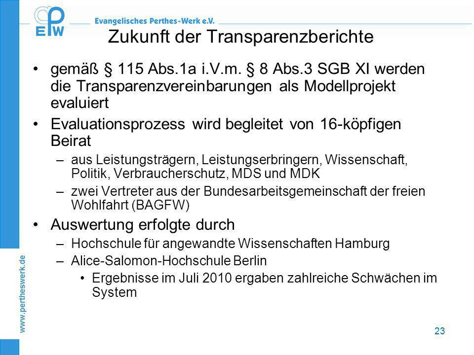 23 Zukunft der Transparenzberichte •gemäß § 115 Abs.1a i.V.m. § 8 Abs.3 SGB XI werden die Transparenzvereinbarungen als Modellprojekt evaluiert •Evalu