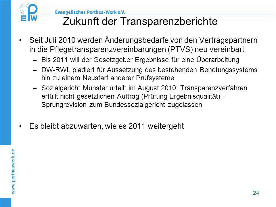 24 Zukunft der Transparenzberichte •Seit Juli 2010 werden Änderungsbedarfe von den Vertragspartnern in die Pflegetransparenzvereinbarungen (PTVS) neu
