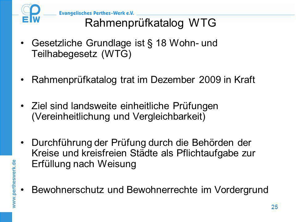 25 Rahmenprüfkatalog WTG •Gesetzliche Grundlage ist § 18 Wohn- und Teilhabegesetz (WTG) •Rahmenprüfkatalog trat im Dezember 2009 in Kraft •Ziel sind l