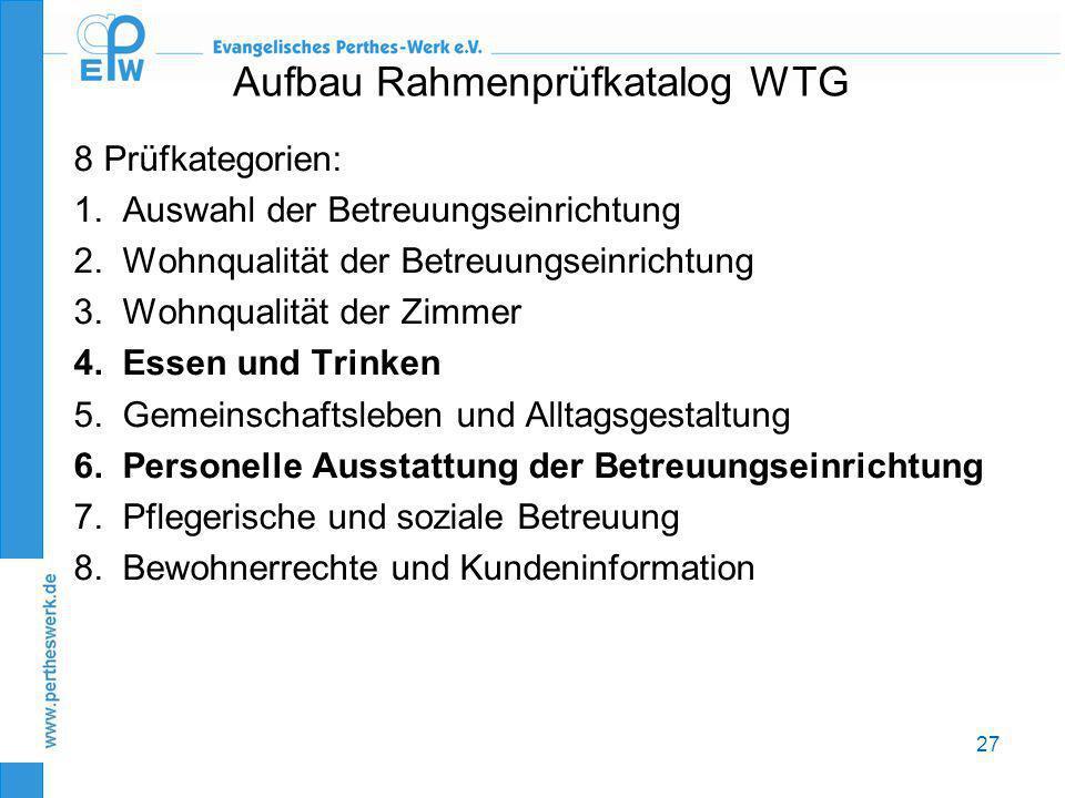 27 Aufbau Rahmenprüfkatalog WTG 8 Prüfkategorien: 1.Auswahl der Betreuungseinrichtung 2.Wohnqualität der Betreuungseinrichtung 3.Wohnqualität der Zimm