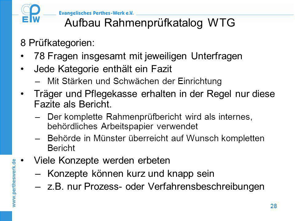 28 Aufbau Rahmenprüfkatalog WTG 8 Prüfkategorien: •78 Fragen insgesamt mit jeweiligen Unterfragen •Jede Kategorie enthält ein Fazit –Mit Stärken und S