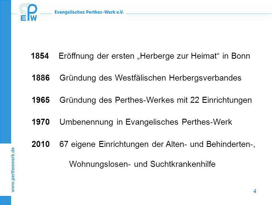 """4 1854 Eröffnung der ersten """"Herberge zur Heimat"""" in Bonn 1886 Gründung des Westfälischen Herbergsverbandes 1965 Gründung des Perthes-Werkes mit 22 Ei"""