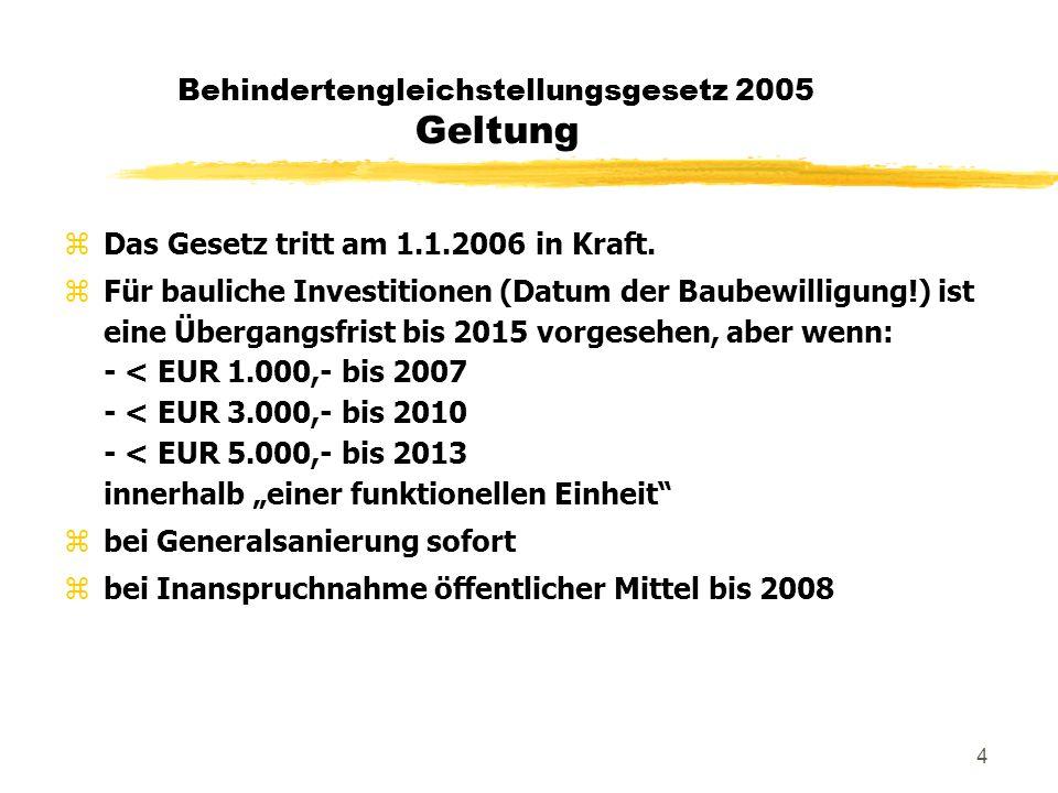 """5 Behindertengleichstellungsgesetz 2005 Personenkreis """"persönliche Beeinträchtigung zBehinderte selbst und deren Verwandte in gerader Linie, Geschwister und Ehe- bzw."""