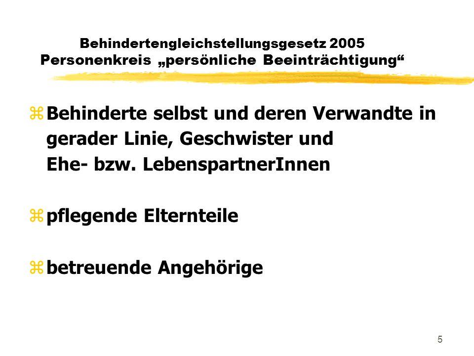 """6 Behindertengleichstellungsgesetz 2005 Rechtsfolgen bei Verletzung zAnspruch auf Ersatz des Vermögensschadens: <> Beseitigung der Barriere <> Einstellung, Aufstieg im Betrieb, Schulung zErlittene """"persönliche Beeinträchtigung : >= EUR 400,-"""