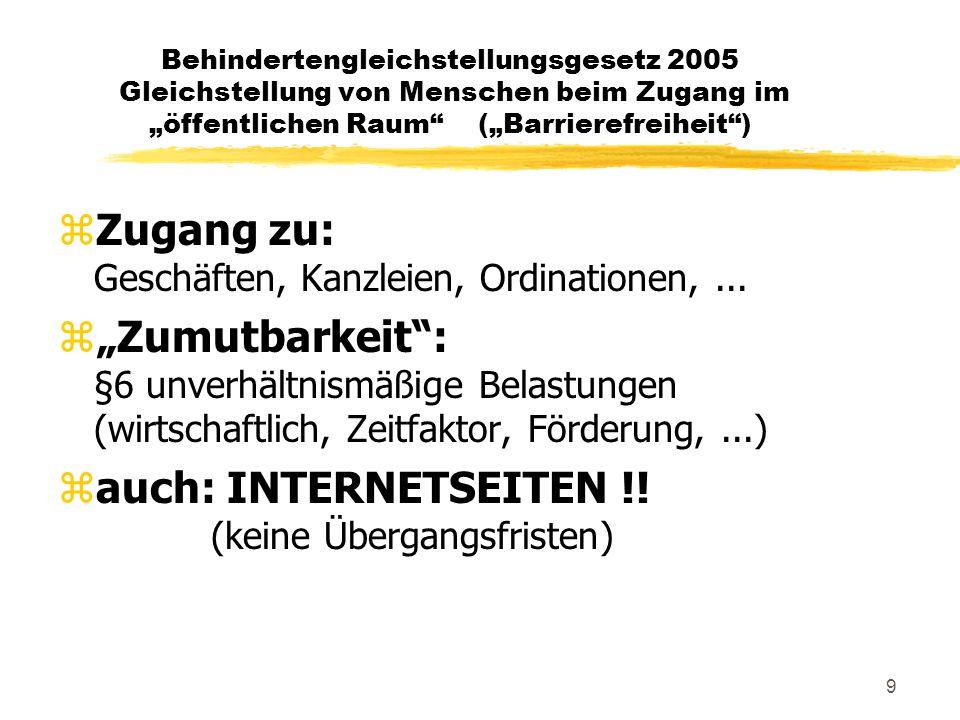 """9 Behindertengleichstellungsgesetz 2005 Gleichstellung von Menschen beim Zugang im """"öffentlichen Raum (""""Barrierefreiheit ) zZugang zu: Geschäften, Kanzleien, Ordinationen,..."""