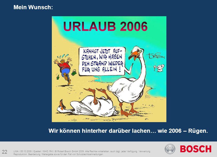 22 Mein Wunsch: LWA | 05.10.2009 | Quellen: WHO, RKI | © Robert Bosch GmbH 2009. Alle Rechte vorbehalten, auch bzgl. jeder Verfügung, Verwertung, Repr