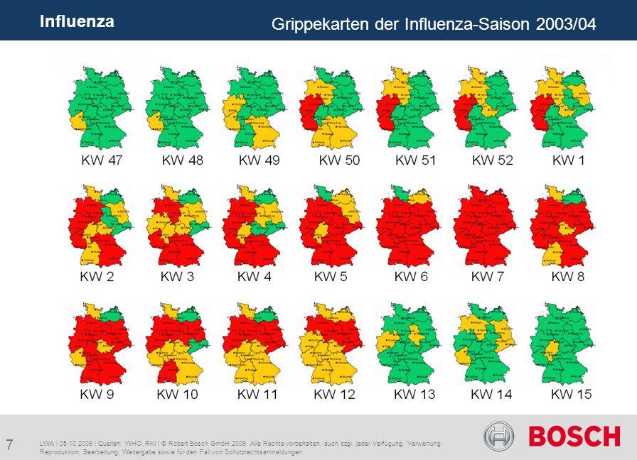 18 Influenza A/H1N1 WAR-Fe3 | 05.10.2009 | Quellen: WHO, RKI | © Robert Bosch GmbH 2009.