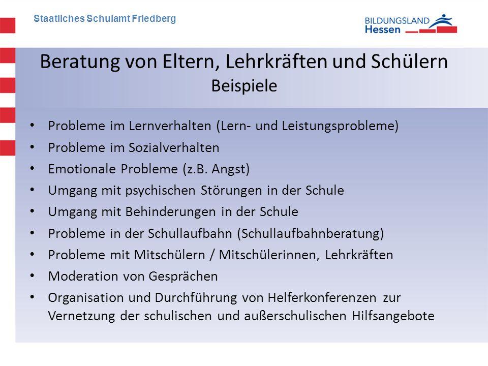Beratung von Eltern, Lehrkräften und Schülern Beispiele • Probleme im Lernverhalten (Lern- und Leistungsprobleme) • Probleme im Sozialverhalten • Emot