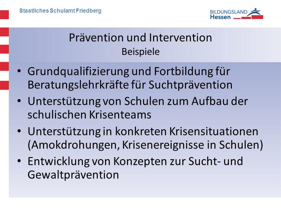 Prävention und Intervention Beispiele • Grundqualifizierung und Fortbildung für Beratungslehrkräfte für Suchtprävention • Unterstützung von Schulen zu