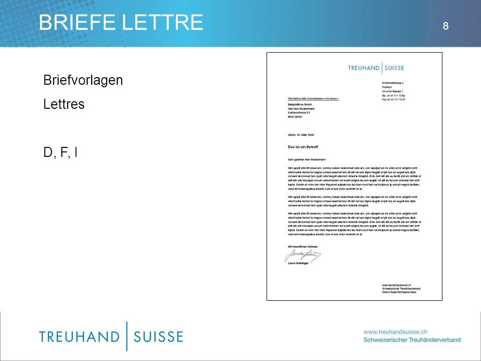 BRIEFE LETTRE Briefvorlagen Lettres D, F, I 8