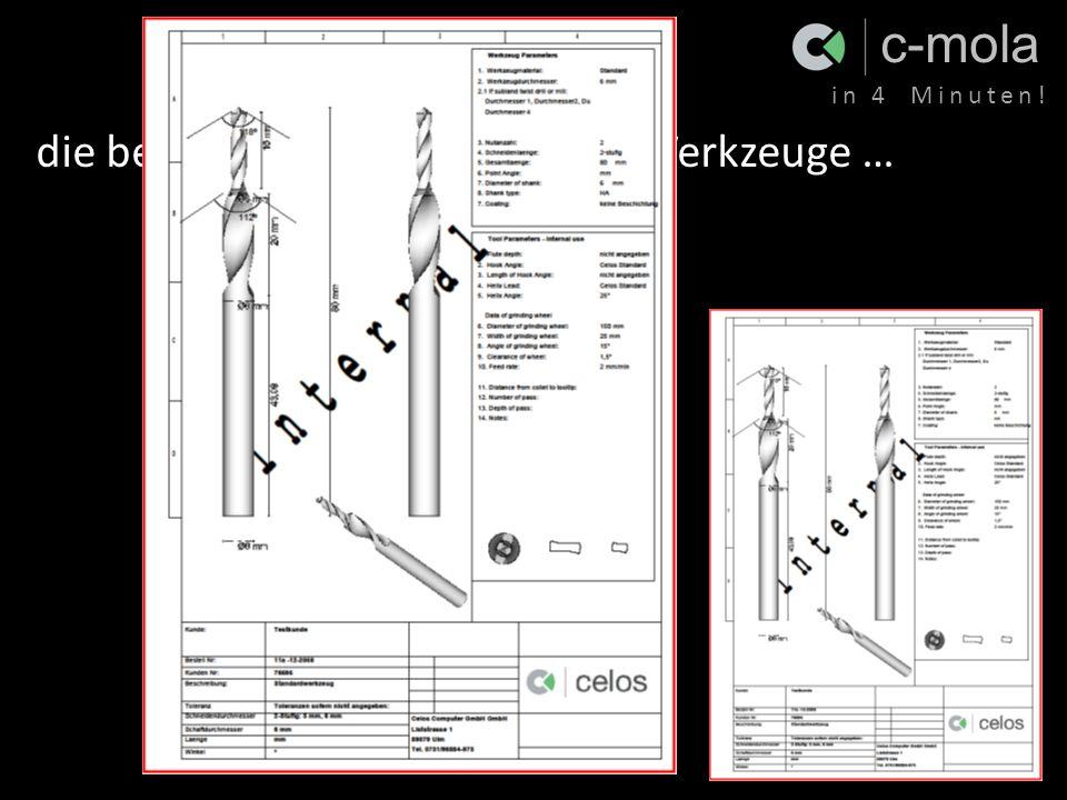 c-mola in 4 Minuten! die beste Dokumentation Ihrer Werkzeuge … - Spiralbohrer - Stufenbohrer - Konische Fräser - Stufenfräser - Schaftfräser