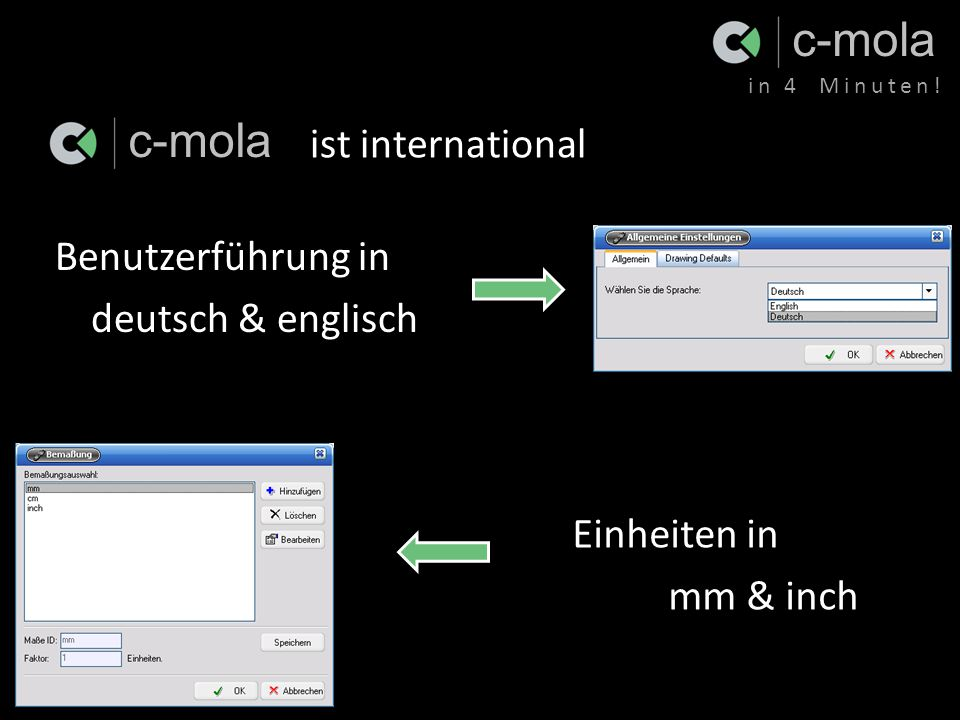 c-mola in 4 Minuten.Ende der Präsentation in 4 Minuten.